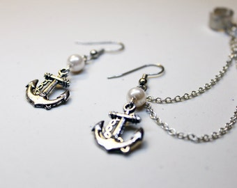 Anchor and Pearl Cuff Earrings Set