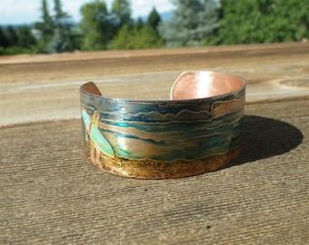 Surfer Scene Copper Bracelet