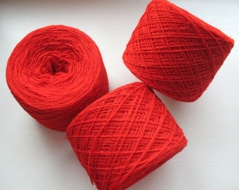 Wool Yarn Red 350 gr 12.2oz skein / 2 ply, each skein contains approximately 1500-1700 yds