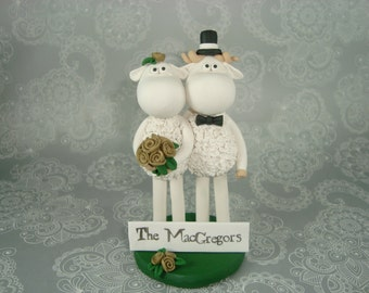 Personalized Sheep Wedding Cake Topper