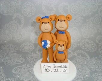 Custom Made Bear Family Cake Topper