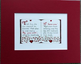 "PRINCESS BRIDE Art Print: ""As You Wish - I Love You"" -  Perfect for Valentine's Day, Wedding, Anniversary"