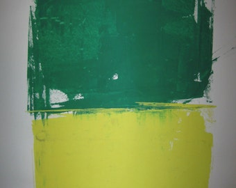 Abstract Minimal Green Over Yellow No.3347 Ink on Paper 24x18 Modern