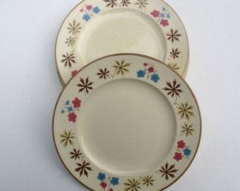 Franciscan China - Larkspur Pattern - Gladding McBean Pink Blue Brown on Cream - 4 Salad Dessert Plates (hard-to-find size)