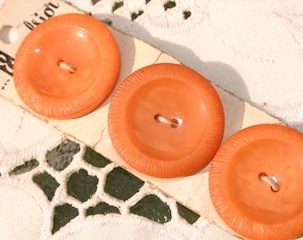 Vintage 3 Orange Buttons by Excelsior on Original Card