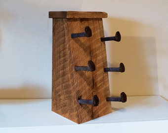 Wood wine rack, wine bottle holder with railroad spike hooks