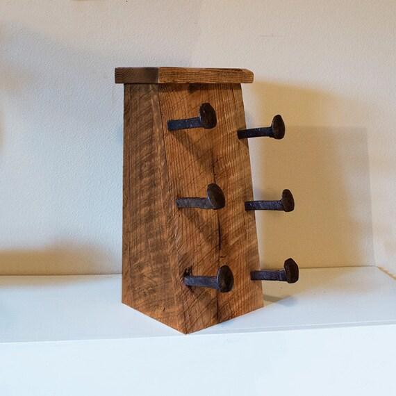 Wood Wine Rack Bottle Holder With Railroad Spike Hooks