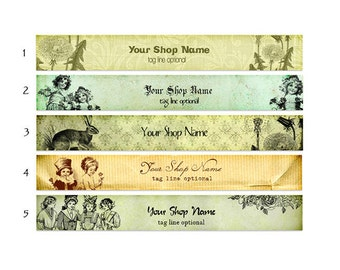 ETSY SHOP BANNERS Vintage Old 2 Etsy Shop Banners and 2 Etsy Shop Avatars
