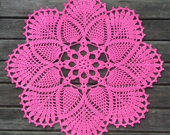 Pink crochet doily, 18 inch