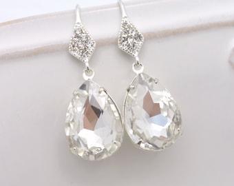 Crystal Bridal Earrings, Crystal Teardrop Earrings, Rhinestone Bridal Earrings, Rhinestone Teardrop Earrings, Teardrop Wedding Earrings 0173
