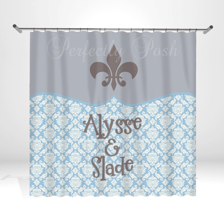 Personalized fleur de lis shower curtain by itsperfectlyposh