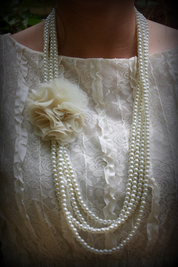 Long Pearl Necklace-Pearl Wedding Necklace-Long Bridal Necklace-Fabric Flowers-Ivory Pearl-Flapper Pearl-Dream Day Designs