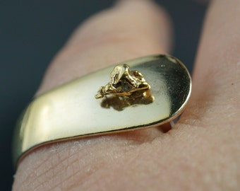 Gold Nugget Ring.SILVER SPOON ring. Sterling Silver Spoon Ring. Alaska Ring. Gold Rush Ring. spoon jewelry.  sz 6 to 8 No.00137