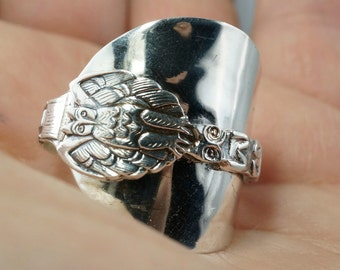 Sterling Owl Ring. Sterling Silver Spoon Ring. Spoon Jewelry. Size 13 silver ring.Totem Pole Ring. Canada Ring . Mens Spoon Ring  No.00148