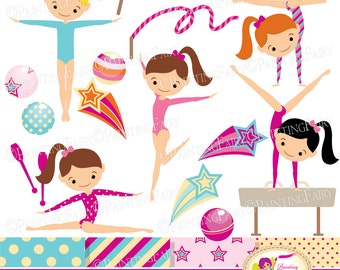 Little Girl Gymnasts Clip Art Set girls Cliparts Cute dress rhythmic gymnastic acrobatic Sport ribbon elements Digital Papers pf00064-1a