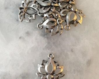 Lotus Flower Charm, SILVER, Namaste, OM, Yoga, 2 Sided, Pewter, Supplies