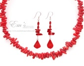 Red Coral Necklace and earrings set