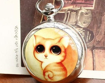 1pcs 25mmx25mm silver color cute cat  pocket watch charms pendant PW184