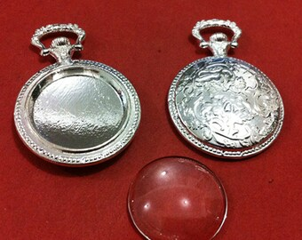 5set  20mm Silver  Round pendant Trays With Glass Cabochons F611