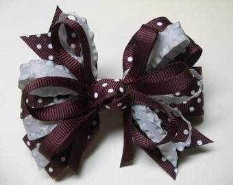 Burgundy Maroon Swiss Polka Do and Gray Hair Bow Back to School Boutique Uniform Accessory