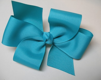 Robins Egg Aqua Blue Basic Hair Bow Simple Traditional Classic Style Toddler Girl