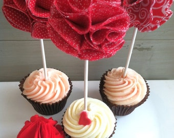 Christmas Red Fabric Cupcake Toppers- Cookie Exchange Christmas Party Decorations