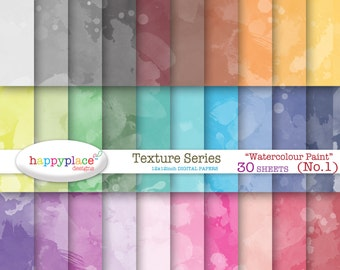 Rainbow WATERCOLOUR PAINT (1) Texture Digital Papers - Digital Scrapbooking, Background, Invitation Supplies. Commercial use ok