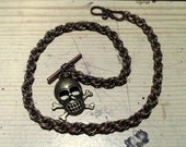 Brass and Copper Skull Pocket Watch Chain - Chain maille.