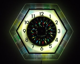 Atomic Kaleidoscope Clock Lighted Retro Motion Wall Clock Op Art Pyschedelic Starburst Electric Mid Century Modern