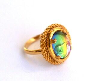 Rainbow Ring Adjustable Oval Iridescent Czech Glass Vitrail Medium Preciosa Helio Red