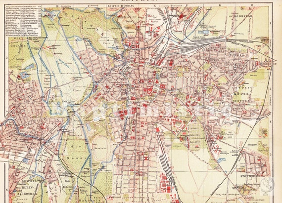 City Map Of Leipzig Saxony Germany In The Th Century - Map of leipzig