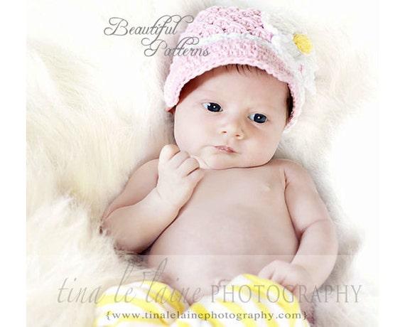 Daisy Crochet Baby Hat Pattern : Crochet Hat Pattern Baby Daisy Visor Beanie by ...