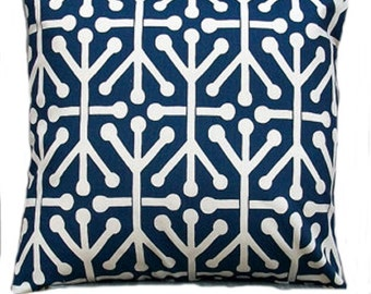 "Premier Prints Pillow Covers Decorative Throw Pillows 18 x 18 Navy Blue / Natural Accent Pillows  Blue "" Jacks "" Cushion Covers"