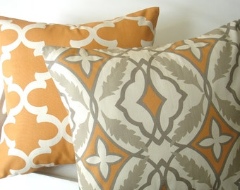 "Orange Pillows Gray Throw Pillows. Two 20 "" X 20"" Decorative Throw Pillows Cover Accent  Pillows Throw Pillow Home Decor Fabric front & back"