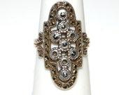 SALE- Antique Art Deco Marcasite Ring, Sterling, Circa 1930's