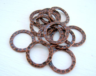 Hammered Copper Hoop 16mm Rings Metal Circles Round Rings Antique Plated Links Findings Wholesale Jewelry Supplies CrazyCoolStuff