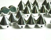 5 Silver Bullet Cone Beads