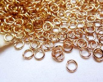 50/100 Rose Gold Plated Jump Rings 4mm, Open Loop - 9-RG-4OL