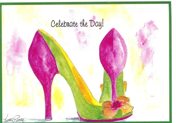Happy Birthday girl party shoes  watercolor card (Item- S54)