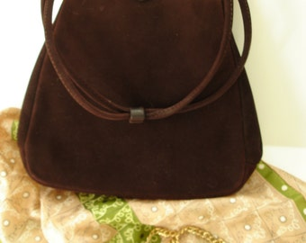 Vintage 1940 Chocolate Suede Handbag