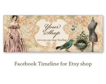 Vintage Facebook Timeline Banner Cover - Digital Download - FRENCH FACEBOOK TIMELINE