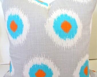 PILLOW COVER ORANGE Decorative Throw Pillows Aqua Blue Turquoise Pillow 16 18x18 20 Gray Ikat Throw Pillow Covers medallion Home Decor