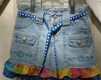 Little Girl's Size 6 Skirt Upcycled Jeans Skirt Ruffled Skirt
