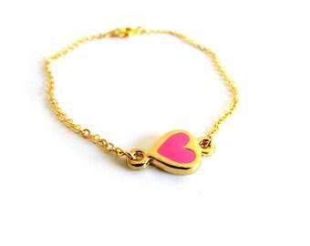 Pink Heart Bracelet, Dainty Gold Bracelet, Baby Pink Bracelet, Heart Charm Bracelet, Pastel Pink Jewelry,Enamel Love Bracelet,Valentines Day