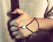 Bronze Turquoise Hand Harness/Slave Bracelet, Hipster Slave Bracelet, Bohemian Hand Harness, Hand Bracelet, Hand Piece