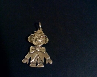 Vintage Articulated Oxidised 2D Sterling Clown Pendant