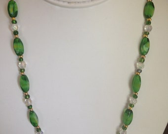 Green and Crysta Beaded Necklace.