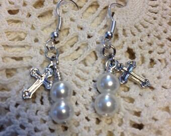 Cross Pearl Earrings