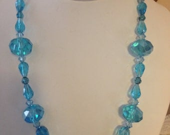 Teal Crystal Beaded Necklace