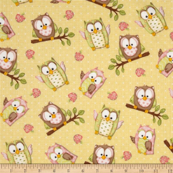 You Whoo Owl fabric pink brown yellow green Henry Glass